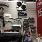 Exhaust parts on display in our Showroom