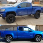 Before and after installation of the 5.5 inch Zone lift kit with 295/70R17 tires and 17x8 wheels. Thanks Truckstuff, a job well done